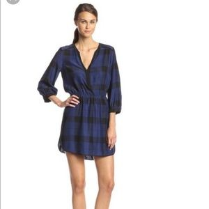 Parker black and navy plaid silk dress